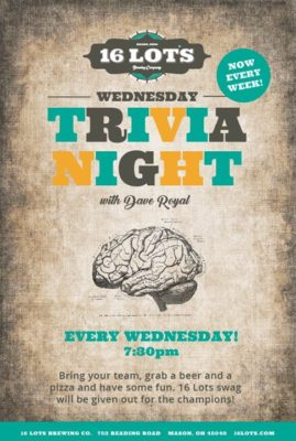 16 Lots Wednesday Trivia @ 16 Lots Brewing Company | Mason | OH | United States