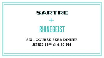 Sartre + Rhinegeist Beer Dinner @ Sartre OTR | Over-The-Rhine | OH | United States